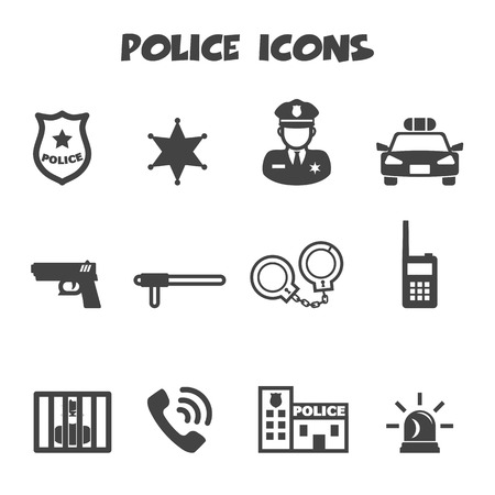 work station: police icons, mono vector symbols Illustration