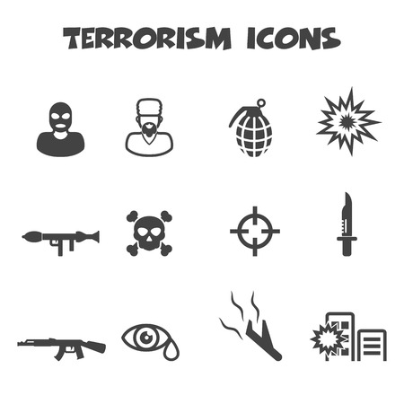 terrorism: terrorism icons, mono vector symbols Illustration