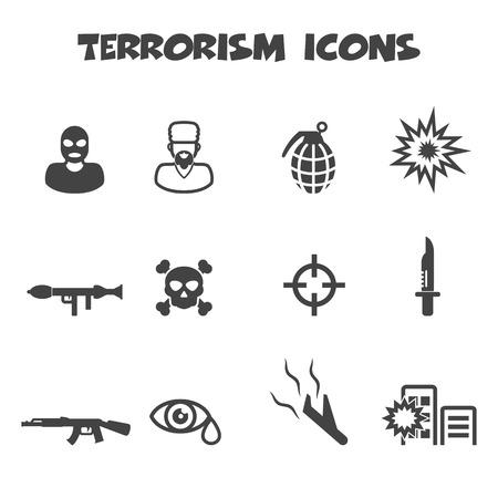 terrorisme iconen, mono vectorsymbolen