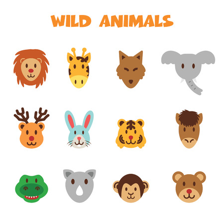 wild animal icons, colorful vector symbols Vector