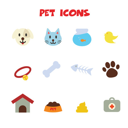 cat food: pet icons, colors vector symbols