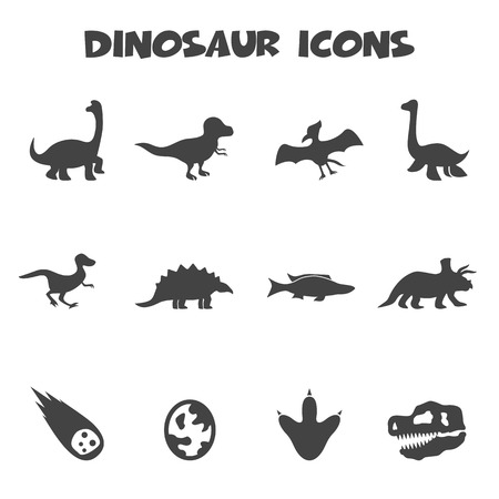 dinosaur icons, mono symbols Illustration