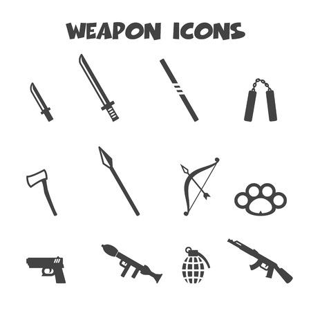 weapon icons, mono symbols Vector