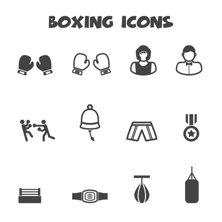 boxing equipment: boxing icons Illustration