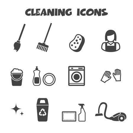 escoba: iconos de limpieza Vectores