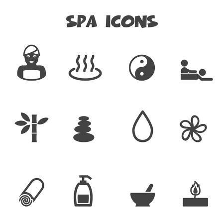 sauna: spa icons Illustration
