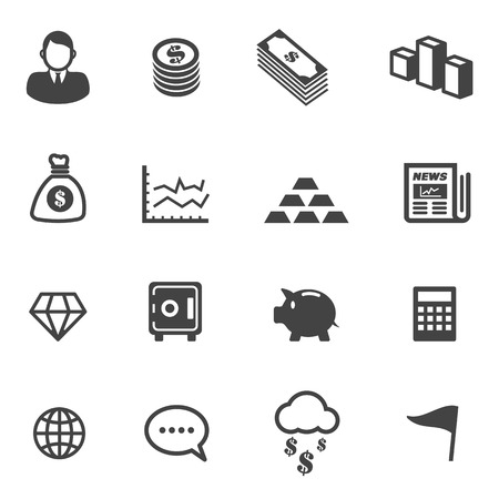business and finance icons, mono symbols Vector