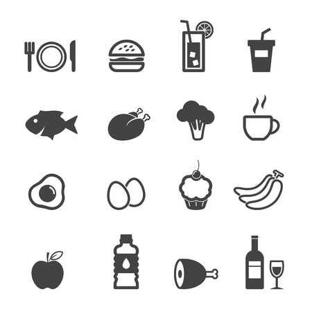 plato de comida: iconos de alimentos y bebidas, los símbolos de mono