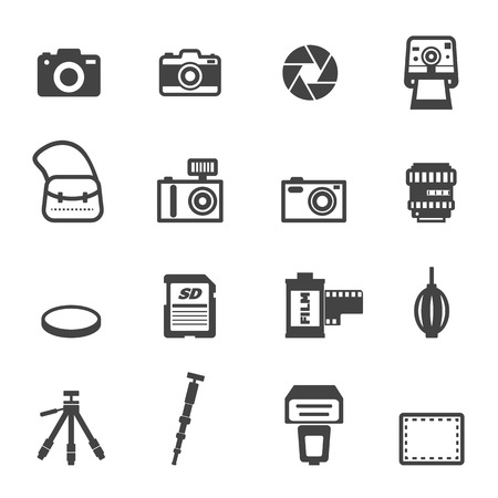 filter: camera and equipment icons, mono vector symbols