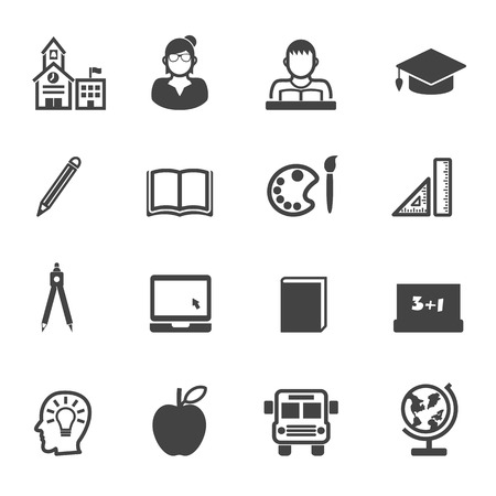 education and school icons, mono vector symbols Vector