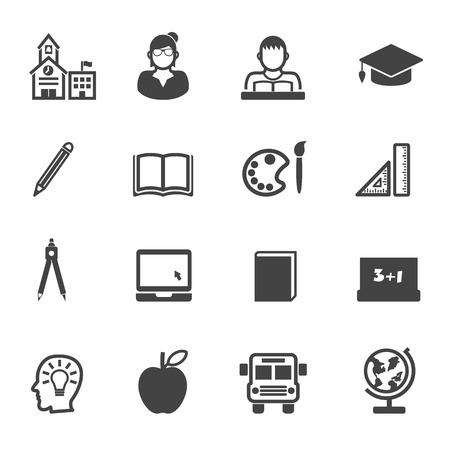 education and school icons, mono vector symbols Vector