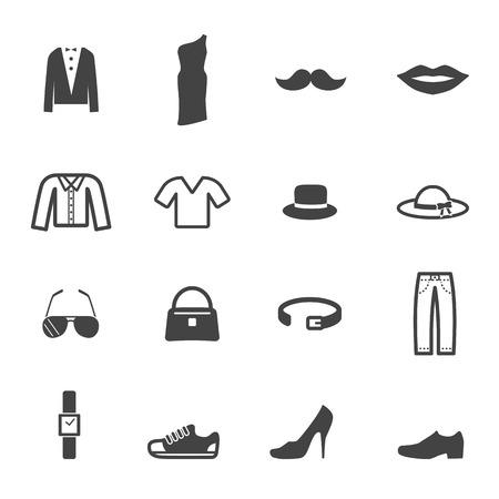 fashion and accessory icons, mono vector symbols Vector
