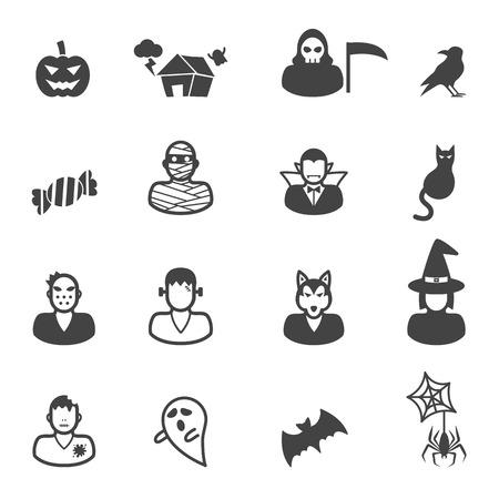 happy halloween icons, mono vector symbols Vector