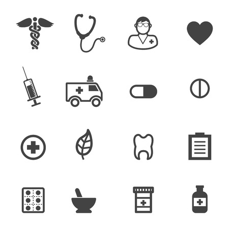 medicines: pharmacy and medical icons, mono vector symbols