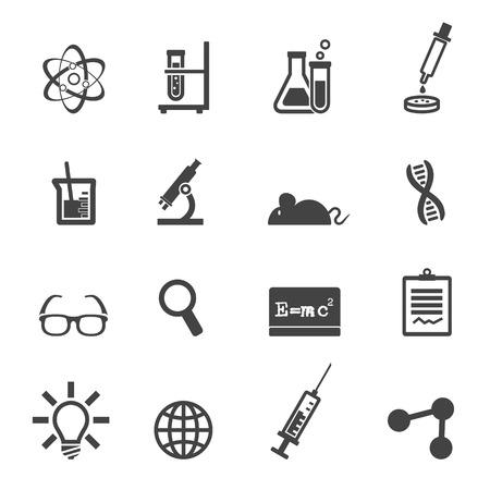 naukowe i laboratoryjne ikony, symbole mono wektor