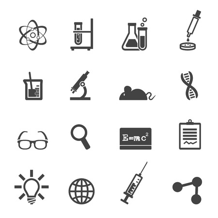 experiments: science and laboratory icons, mono vector symbols