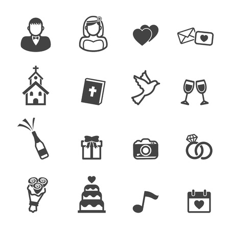 church: wedding ceremony icons, mono vector symbols