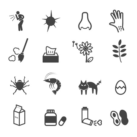 allergies icons, mono vector symbols