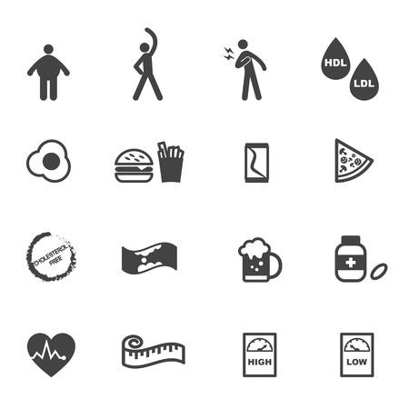 fried food: cholesterol icons, mono vector symbols Illustration