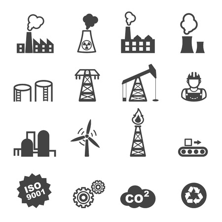 chimneys: industry icons, mono vector symbols