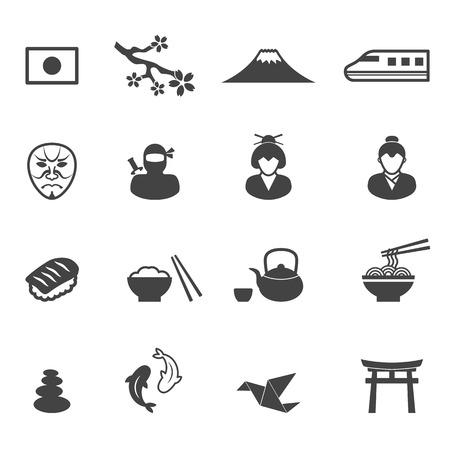 japan culture icons, mono vector symbols