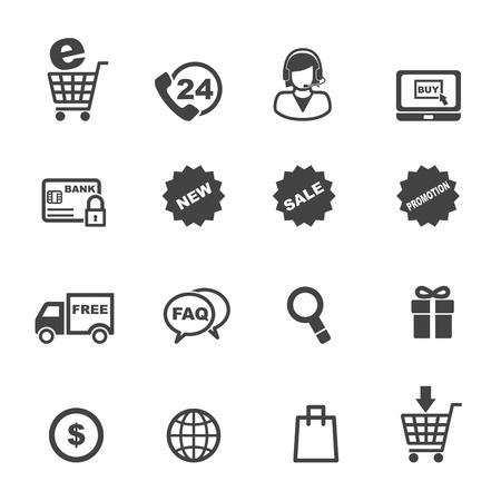 shopping and e-commerce icons, mono vector symbols