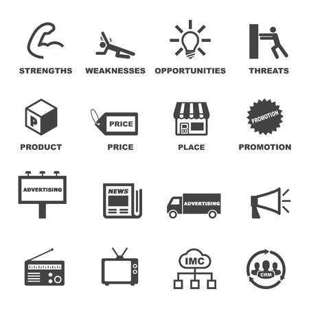 crm: marketing and advertising icons, mono symbols
