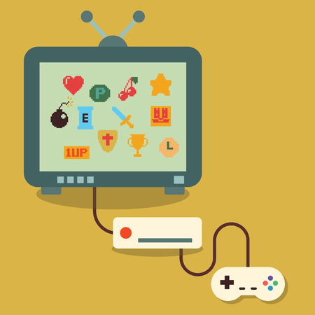 bit: retro video game, flat design