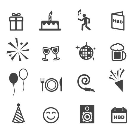 champagne celebration: birthday party icons Illustration
