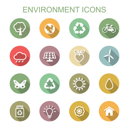 recycle tree: environment long shadow icons