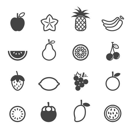 fruit icons, mono symbols on white background Illustration