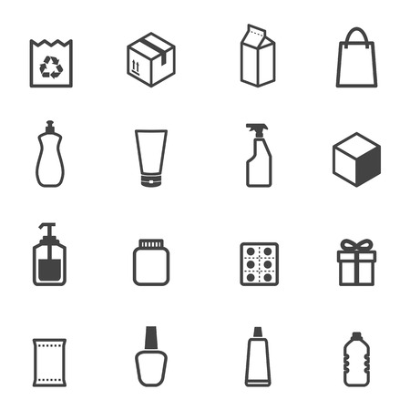 packaging icons, mono symbols
