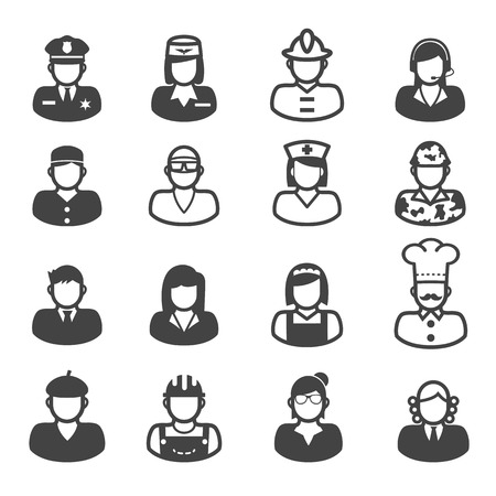 hotesse de l air: icônes personnes d'occupation, symboles mono Illustration