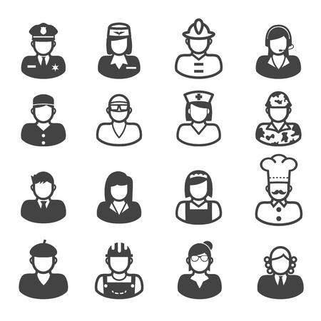 air hostess: people occupation icons, mono symbols Illustration