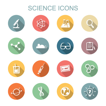 laboratory glass: science long shadow icons, flat symbols