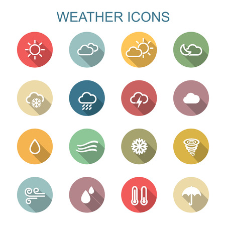 weather long shadow icons, flat symbols Vettoriali