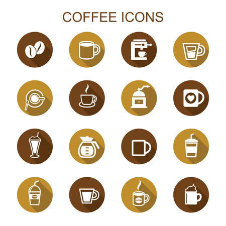 coffee: coffee long shadow icons, flat vector symbols
