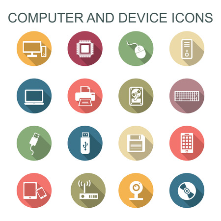 lcd monitor printer: computer and device long shadow icons, flat vector symbols Illustration