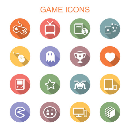 computer mouse icon: game long shadow icons, flat vector symbols