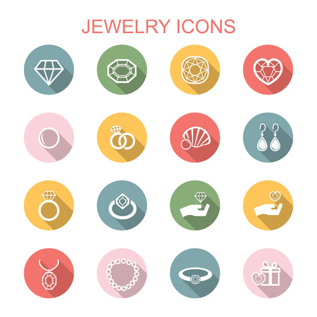 jewelry long shadow icons, flat vector symbols Vector