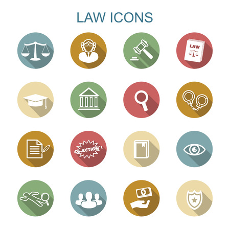 law books: law long shadow icons, flat vector symbols Illustration