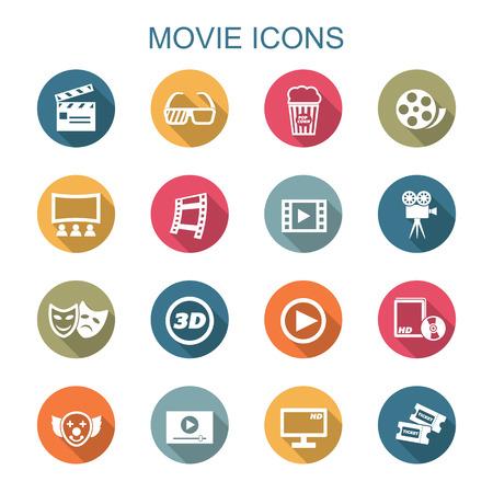 movie long shadow icons, flat vector symbols Vector