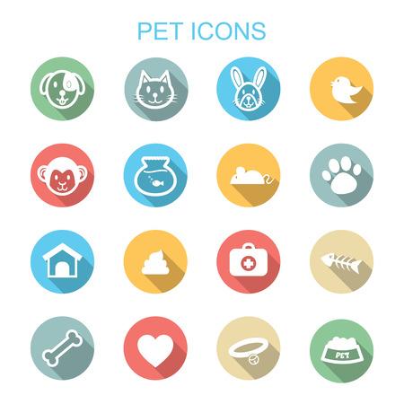 pet long shadow icons, flat vector symbols Vector