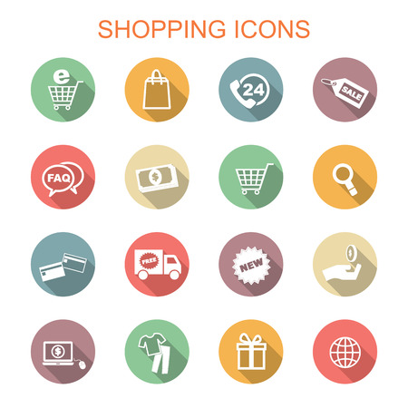 shopping long shadow icons, flat vector symbols