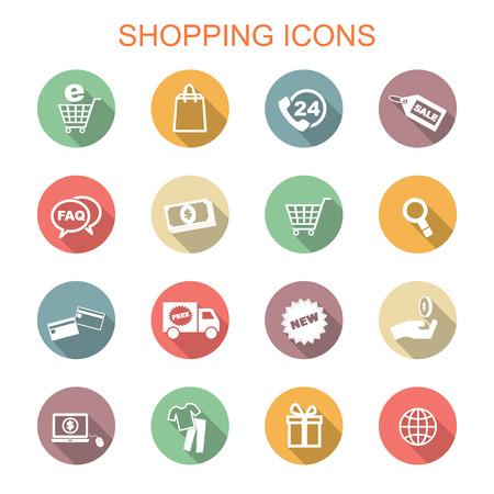 winkelen lange schaduw iconen, platte vectorsymbolen