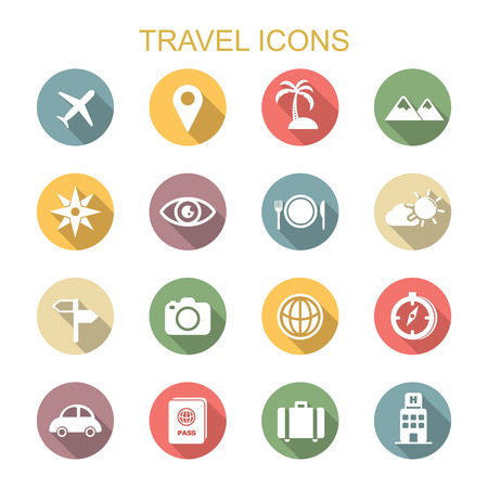 travel destinations: travel long shadow icons, flat vector symbols Illustration