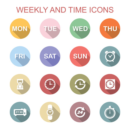 weekly: weekly and time long shadow icons, flat vector symbols