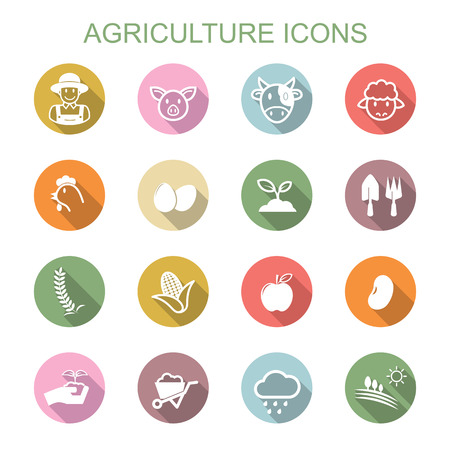 agriculture long shadow icons Illustration