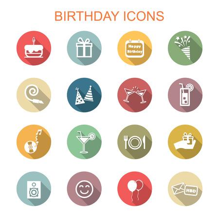 birthday long shadow icons Vector