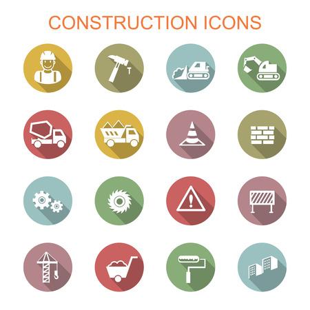 construction long shadow icons Vector